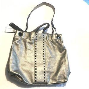 Large BCBG $392 Retail Hobo Pewter Leather NWT